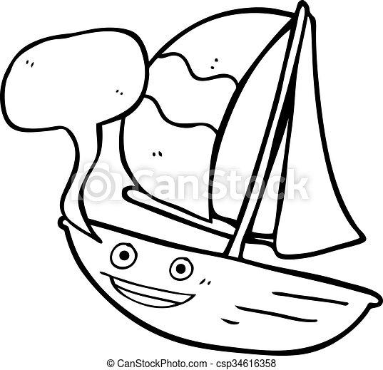 speech bubble cartoon sail ship
