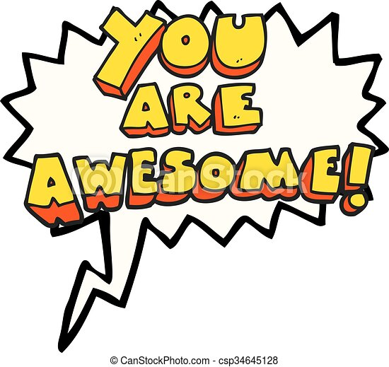 Freehand Drawn Speech Bubble Cartoon You Are Awesome Text Vector