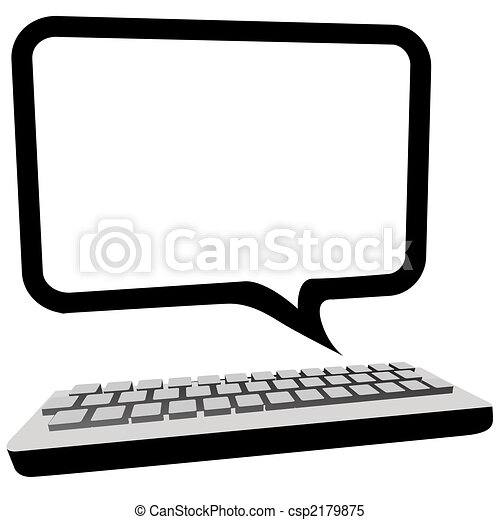 Speech bubble communication copyspace on computer monitor - csp2179875