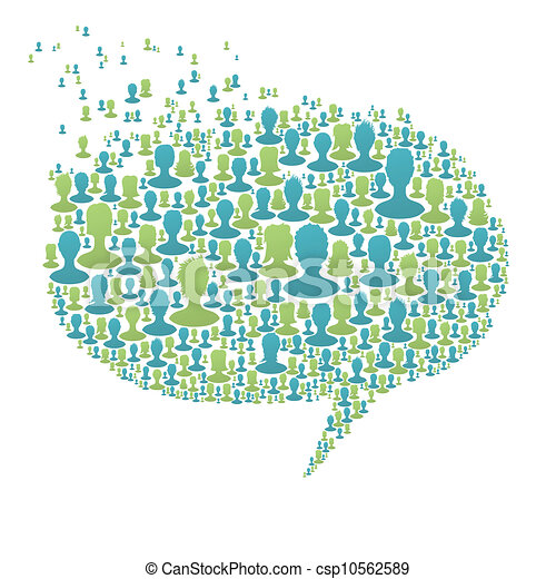 Speech bubble, composed from many people silhouettes. Social network concept, vector, EPS8 - csp10562589