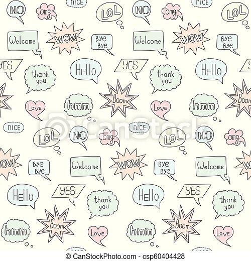 Speech bubble doodle seamless pattern