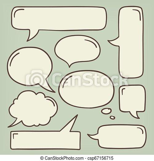Speech Bubble Doodle Set - csp67156715