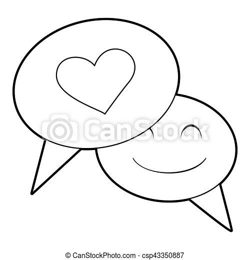 Speech Bubble Heart Icon Outline Style Speech Bubble Heart Icon