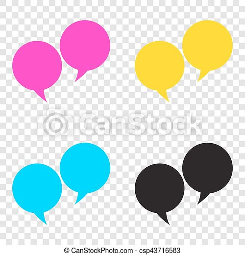 Speech bubble sign  CMYK icons on transparent background  Cyan,