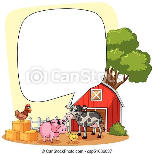 Speech bubble template with farm scene in background illustration.