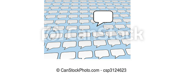 Speech bubble voice talks over social media blue - csp3124623