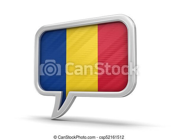 Speech bubble with Romanian flag. Image - csp52161512