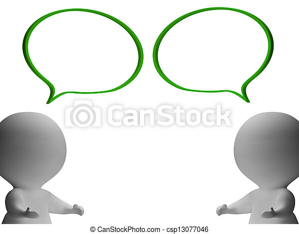 Speech Bubbles And 3d Characters Showing Discussion And Gossip - csp13077046