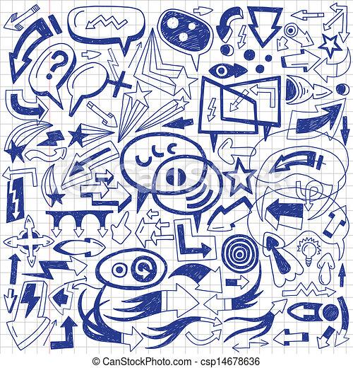 speech bubbles and arrows - doodles set - csp14678636