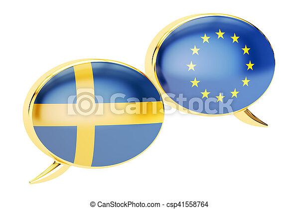 Speech bubbles, EU-Sweden conversation concept. 3D rendering - csp41558764