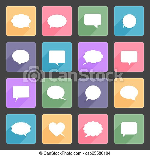Speech bubbles flat icons - csp25580104
