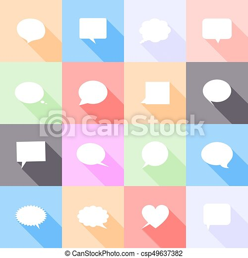 Speech bubbles flat icons with long shadow - csp49637382