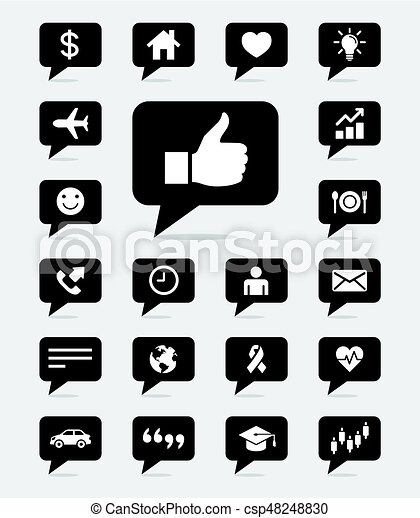 Speech bubbles icons set. Vector illustrations. - csp48248830