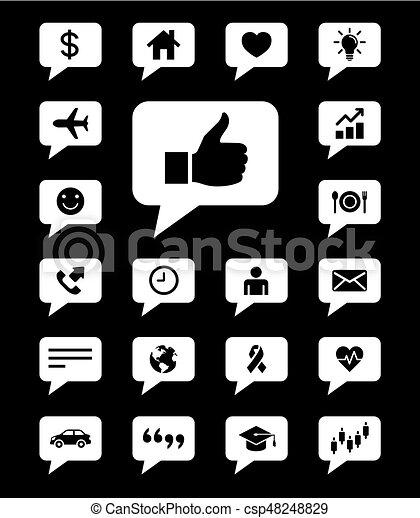 Speech bubbles icons set. Vector illustrations. - csp48248829