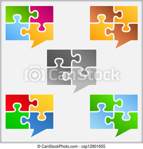 Speech bubbles made of puzzle pieces - csp12901655