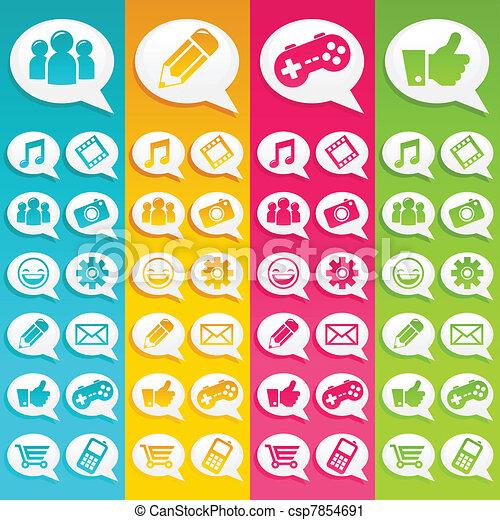 Speech Bubbles Media Icons - csp7854691