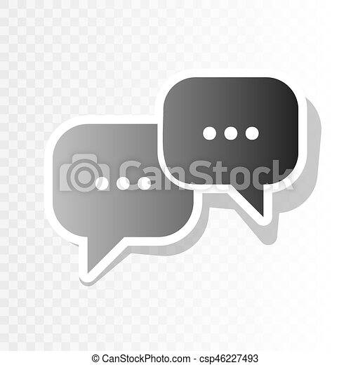Speech bubbles sign. vector. new year blackish icon on transparent ...