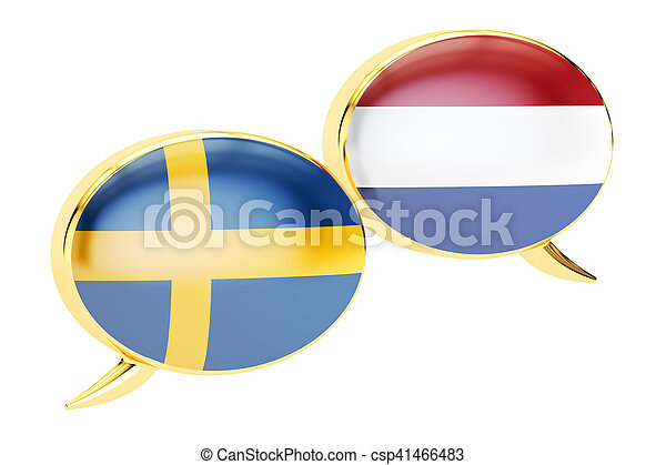 Speech bubbles, Swedish-Dutch translation concept. 3D rendering - csp41466483