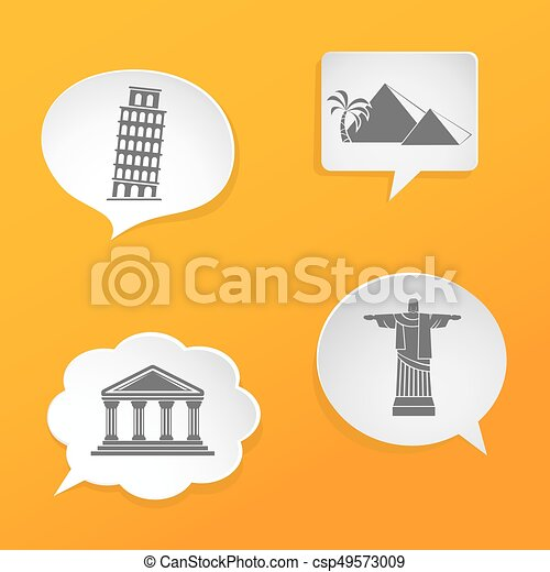 Speech bubbles with landmarks icons - csp49573009