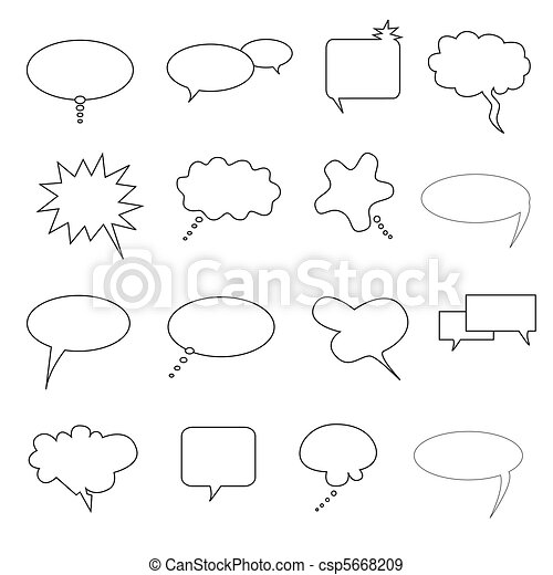 Speech, talk and thought bubbles - csp5668209