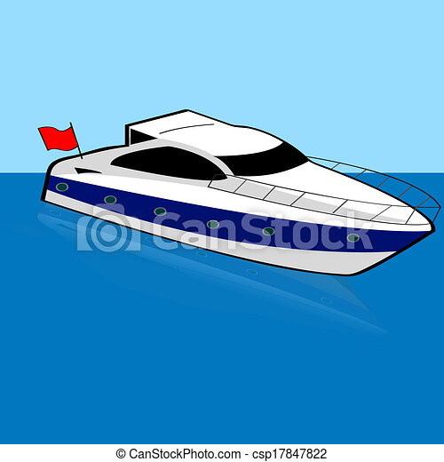 Speed Boat Cartoon Illustration Of A Speed Boat Anchored On A Calm Spot Canstock