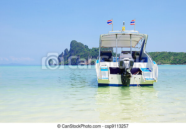 speed boat in sea - csp9113257
