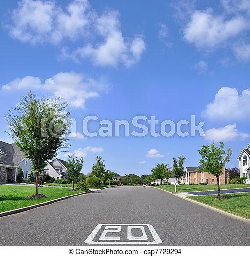 Speed Limit Suburban Neighborhood - csp7729294