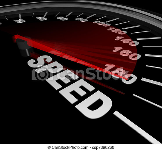 Speed Word on Speedometer Win Race Be Fast and Quick - csp7898260