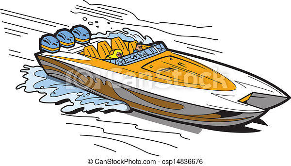 speedboat on water illustration of a fast speedboat on the water rh canstockphoto com speed boat lake clip art speed boat lake clip art