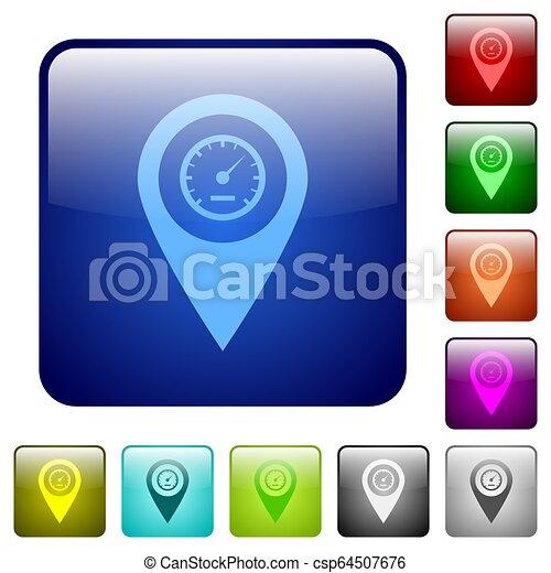 Speedcam GPS map location color square buttons - csp64507676