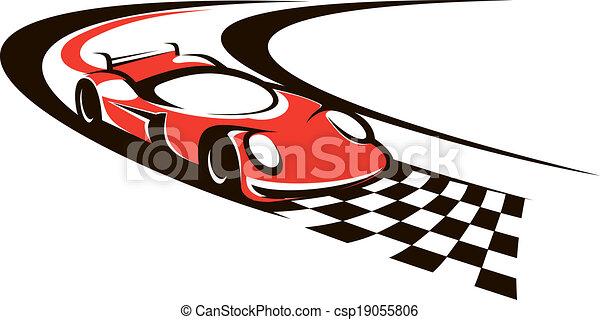 Speeding racing car crossing the finish line - csp19055806