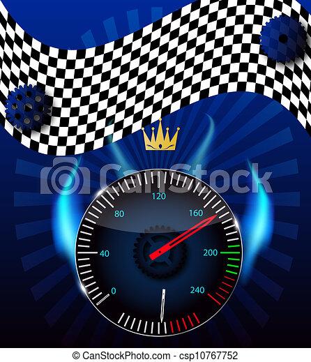 speedometer., vetorial, illustration., bandeira checkered - csp10767752