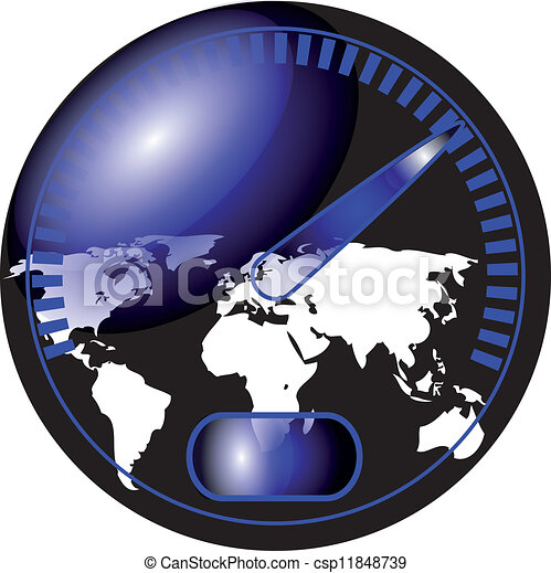 speedometer with a map of the world - csp11848739