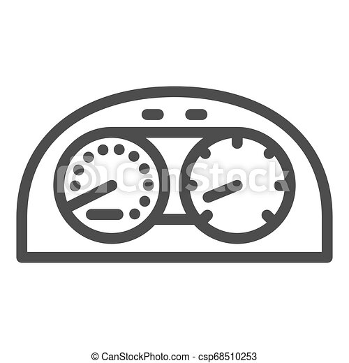 Speedometr line icon. Car dashboard vector illustration isolated on white. Dial outline style design, designed for web and app. Eps 10. - csp68510253
