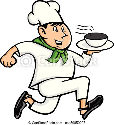 Cuisine Clipart of a Male Chef Stirring a Large Silver Pot of Soup with a  Spoon by djart - #358