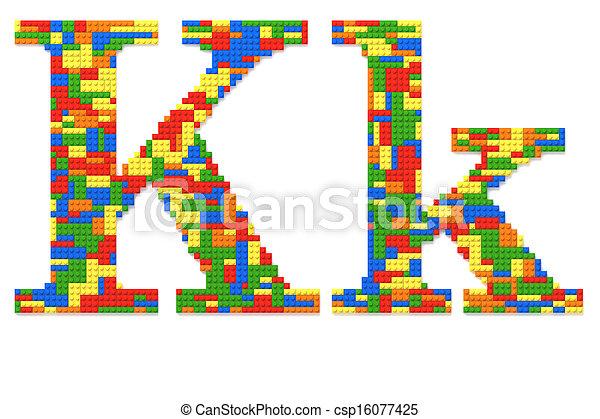 speelbal, gebouwde, bakstenen, k, willekeurig, toevallig, kleuren, brief - csp16077425