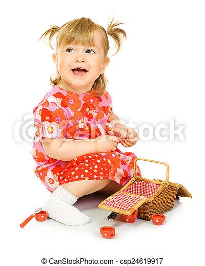 speelbal, vrijstaand, baby, mand, kleine, het glimlachen, jurkje, rood - csp24619917