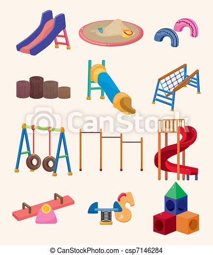 speelplaats, park, spotprent, pictogram - csp7146284