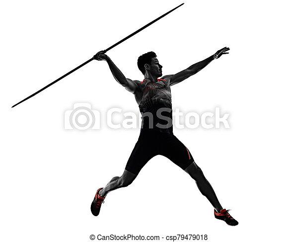 speerwerfen, weißes, freigestellt, hintergrund, mann, junger, athlet, athletik - csp79479018