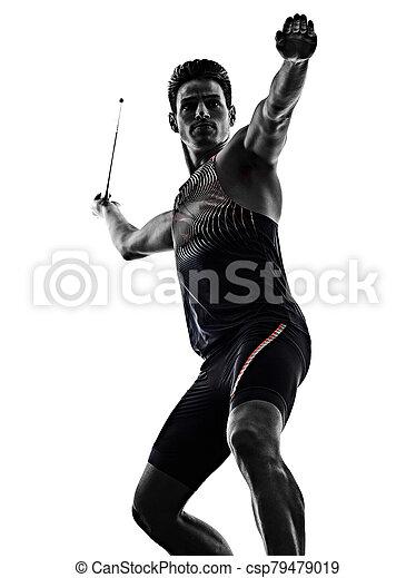 speerwerfen, weißes, freigestellt, hintergrund, mann, junger, athlet, athletik - csp79479019