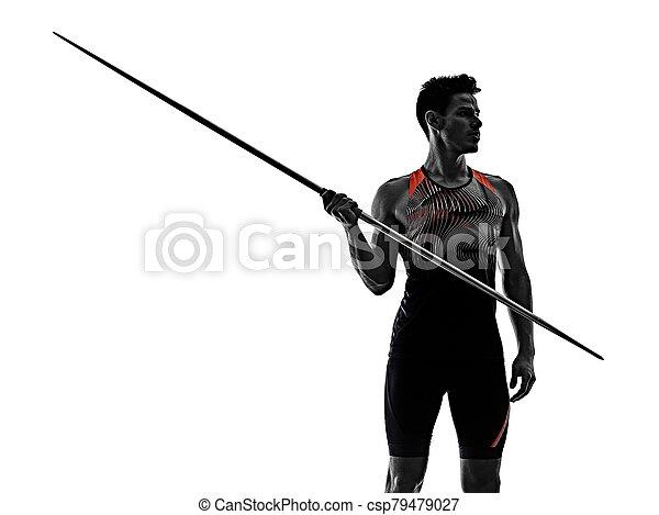 speerwerfen, weißes, freigestellt, hintergrund, mann, junger, athlet, athletik - csp79479027