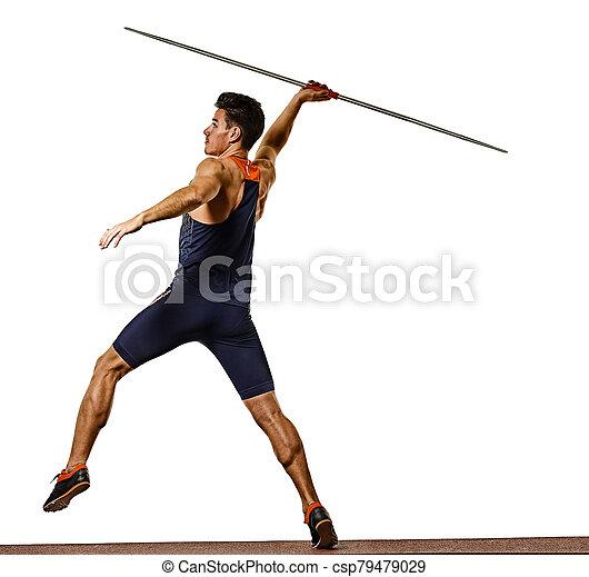 speerwerfen, weißes, freigestellt, hintergrund, mann, junger, athlet, athletik - csp79479029