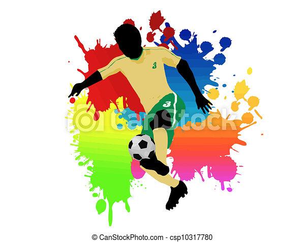 Spelare, fotboll. Färg, illustration, spelare, vektor ...