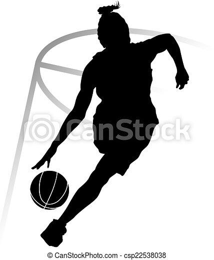 spelare, kvinna, basketboll, silhuett - csp22538038