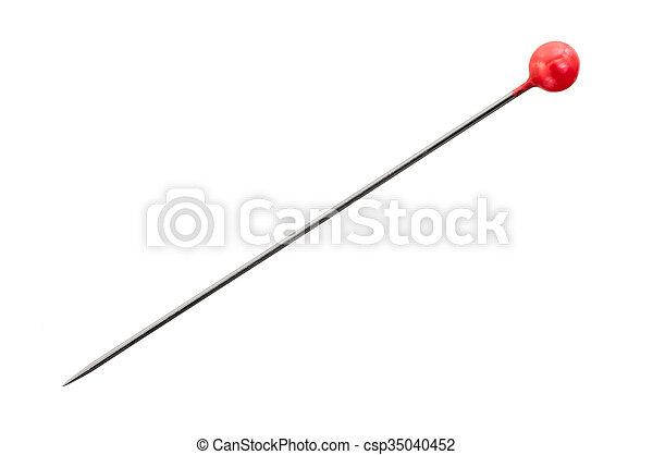 spelden, naaiwerk, head;, vrijstaand, ronde, rood - csp35040452