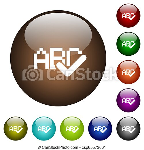 Spell check color glass buttons - csp65573661