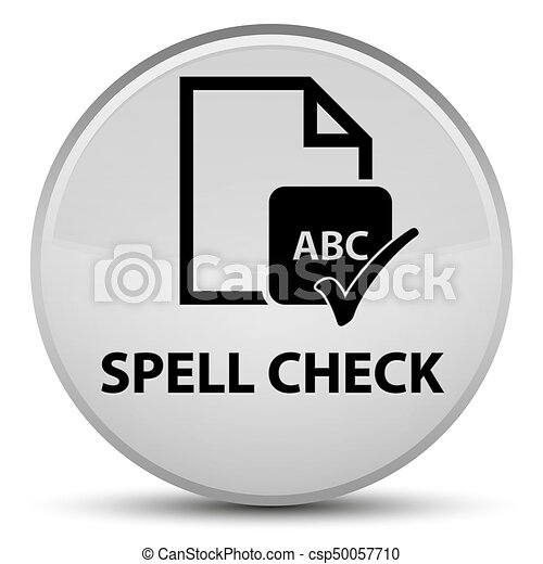 Spell check document special white round button - csp50057710