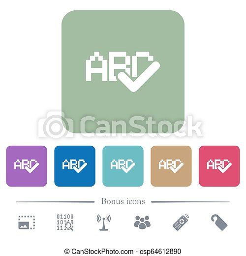 Spell check flat icons on color rounded square backgrounds - csp64612890