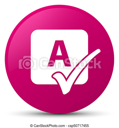 Spell check icon pink round button - csp50717455