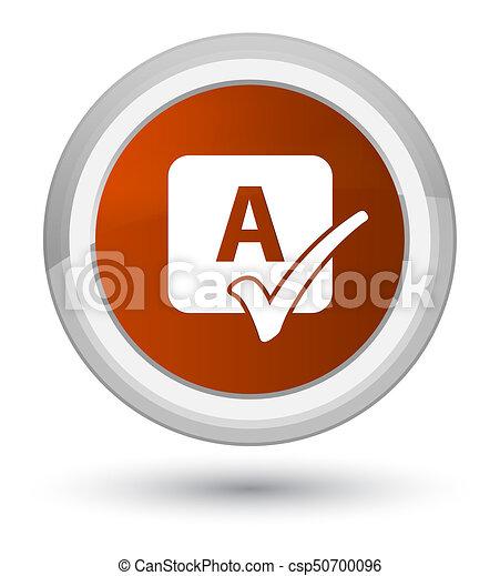 Spell check icon prime brown round button - csp50700096